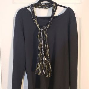 Black Scarf with Gold and Silver